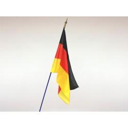 Drapeau Allemagne tissu agrafé sur hampe en bois bleu 1m