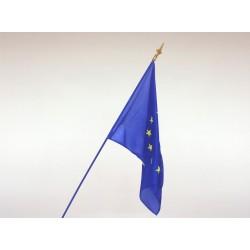 Drapeau Europe tissu agrafé sur hampe en bois bleu 1m
