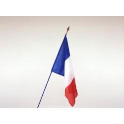 Drapeau France tissu agrafé sur hampe en bois bleu 1m